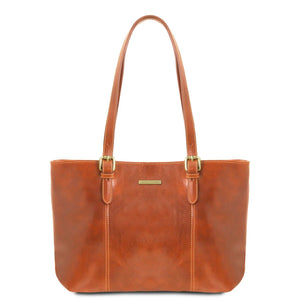 Tuscany Leather 'Annalisa' Leather Shopping Tote Bag Leather Shopping Bag Tuscany Leather Honey