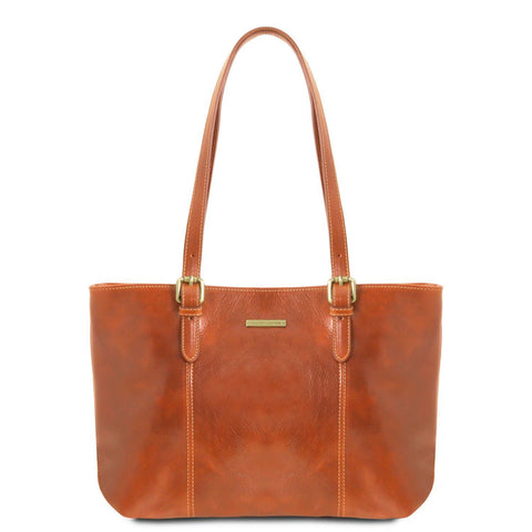 Tuscany Leather Annalisa Leather Shopping Tote Bag - Made in Tuscany