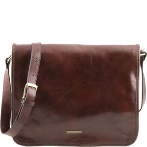 Tuscany Leather 'Messenger' Leather Laptop Shoulder Bag Messenger Bag Tuscany Leather Brown