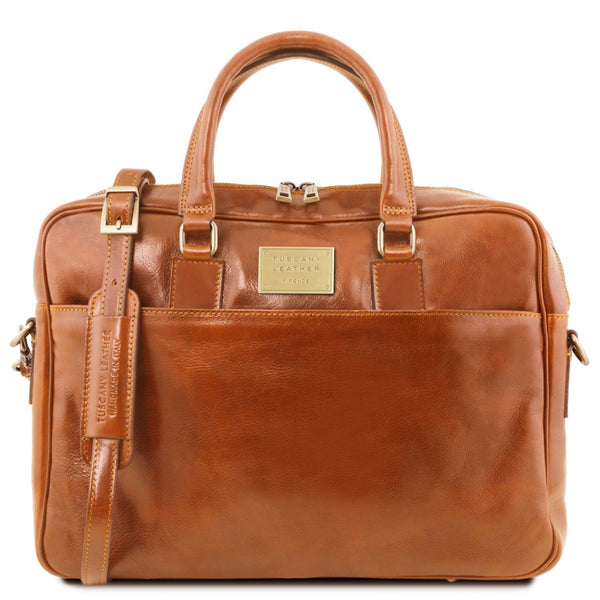Tuscany Leather 'Urbino' Leather Laptop Carry Briefcase Laptop Briefcase Tuscany Leather Honey