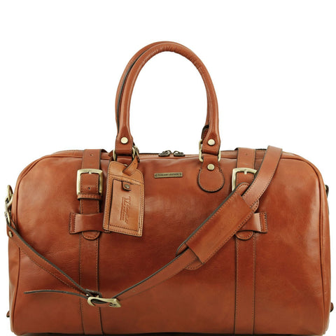 Tuscany Leather Travel Bag With Front Straps 'TL Voyager' - Large Size Duffle Bag Tuscany Leather Honey