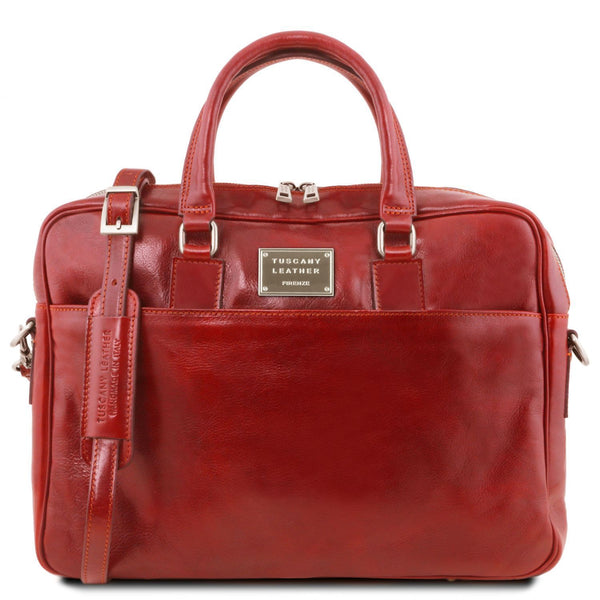 Tuscany Leather 'Urbino' Leather Laptop Carry Briefcase Laptop Briefcase Tuscany Leather Red