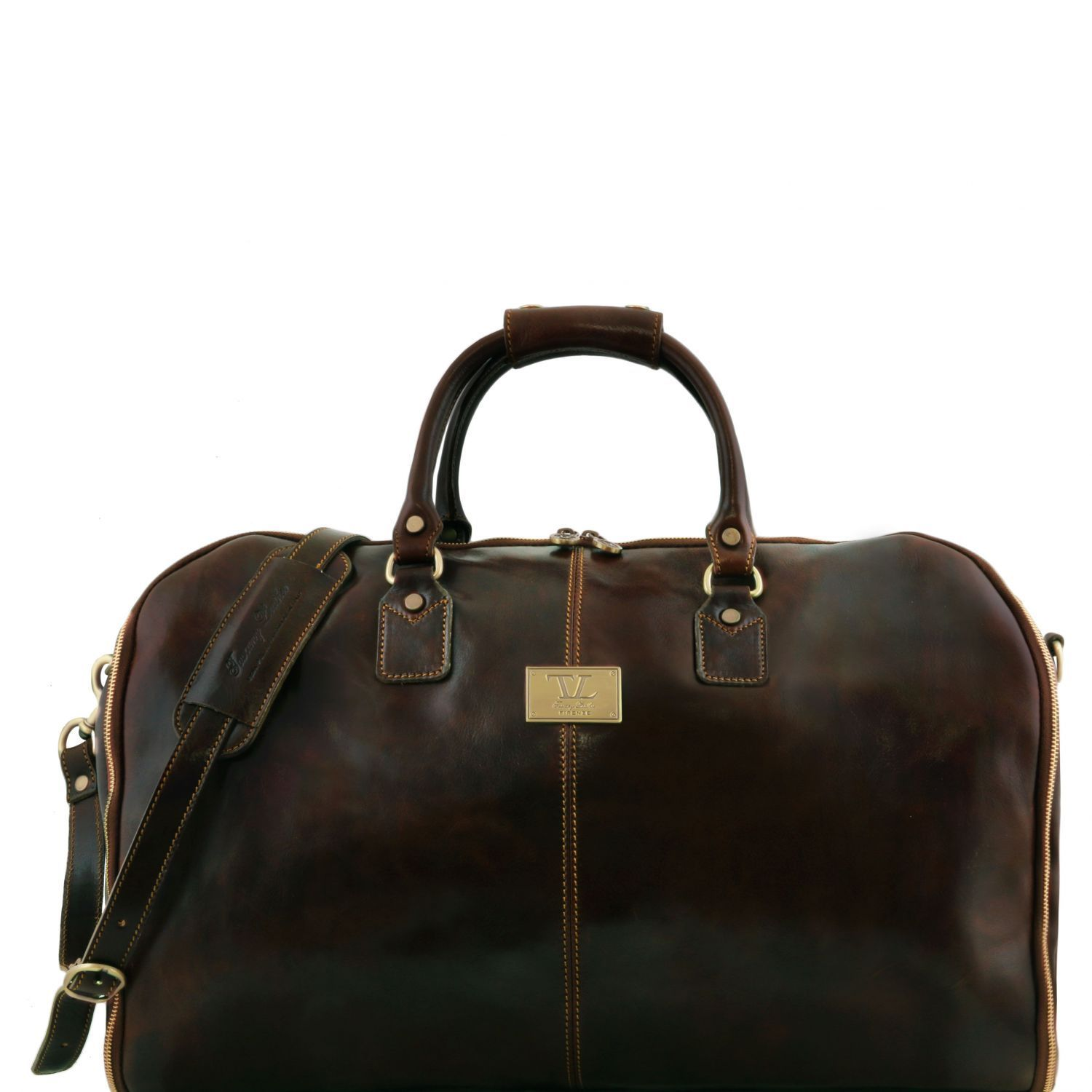 Tuscany Leather Antigua Leather Garment/Suit Carrier And Duffel Combo Suit Carrier Tuscany Leather Dark Brown