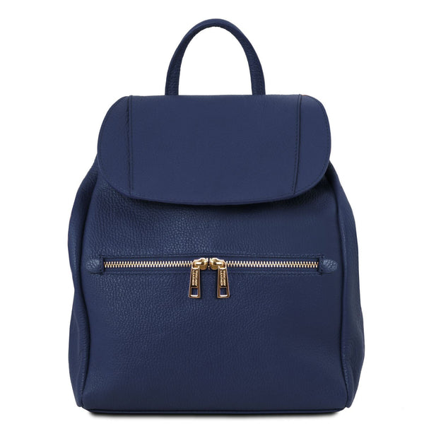 Tuscany Leather Soft Leather Backpack For Women (TL141697) Backpack Tuscany Leather Dark Blue