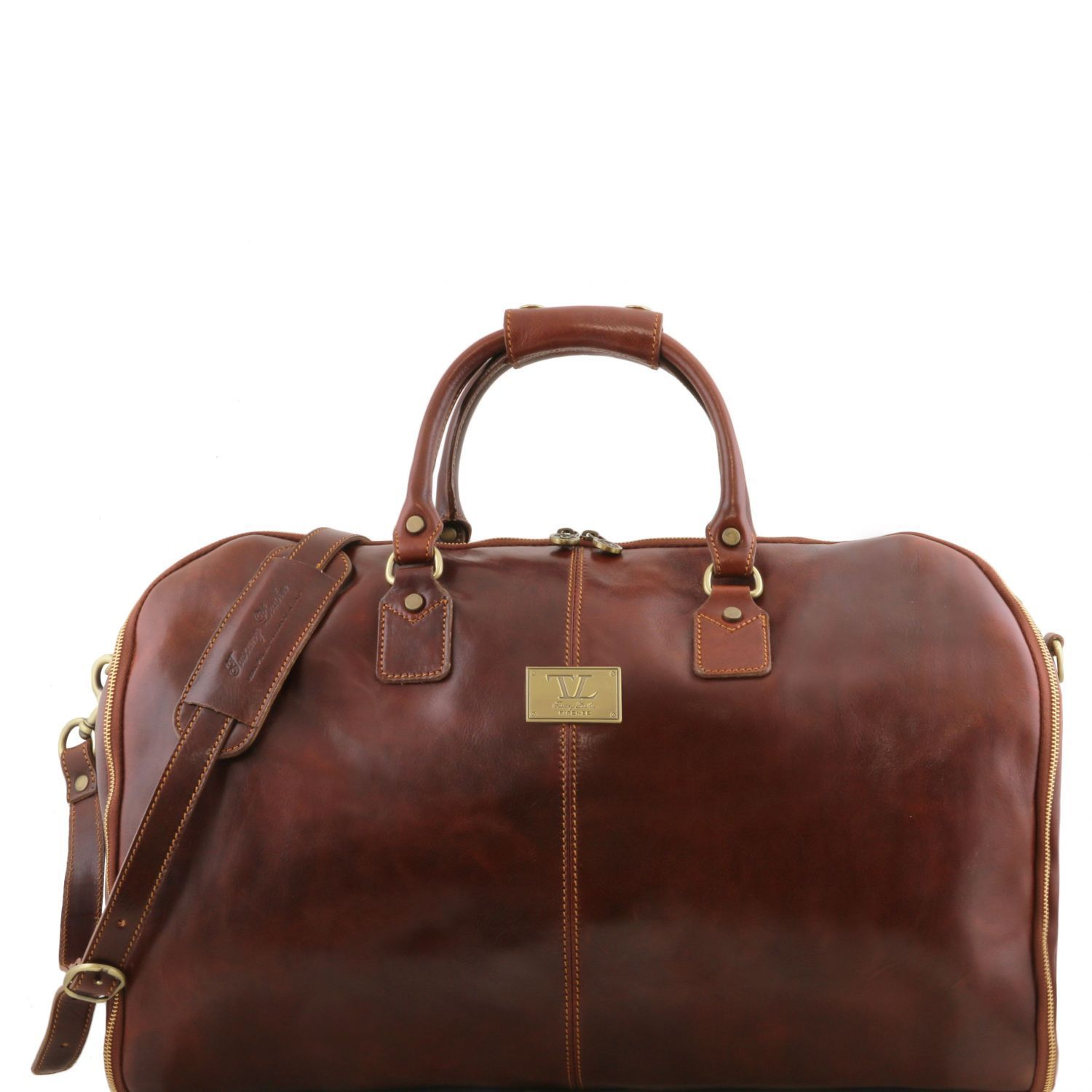 Tuscany Leather Antigua Leather Garment/Suit Carrier And Duffel Combo Suit Carrier Tuscany Leather Brown