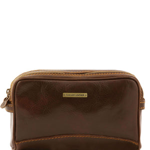 Tuscany Leather 'Igor' Leather Toiletry Bag Toiletry Bag Tuscany Leather Dark Brown