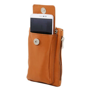 Tuscany Leather 'Attraversare' Leather Mobile Phone Holder Mini Cross Bag Mobile Phone Holder Tuscany Leather