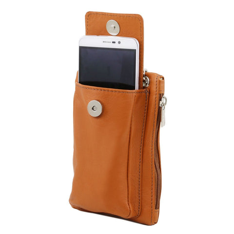 Tuscany Leather Soft Leather Mobile Phone Holder Mini Cross Bag - Made in Tuscany