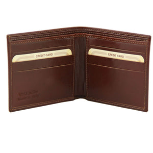 Tuscany Leather Exclusive Classic 2 Fold Leather Wallet For Men (TL141377) Wallets Tuscany Leather Brown