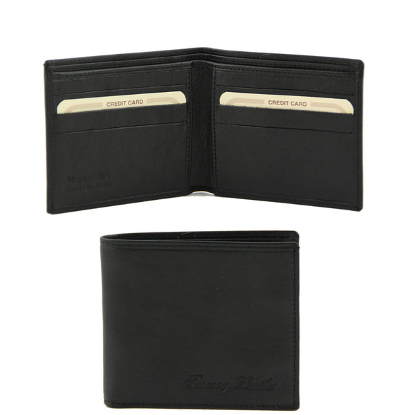 Tuscany Leather Exclusive Classic 2 Fold Leather Wallet For Men (TL141377) Wallets Tuscany Leather Black