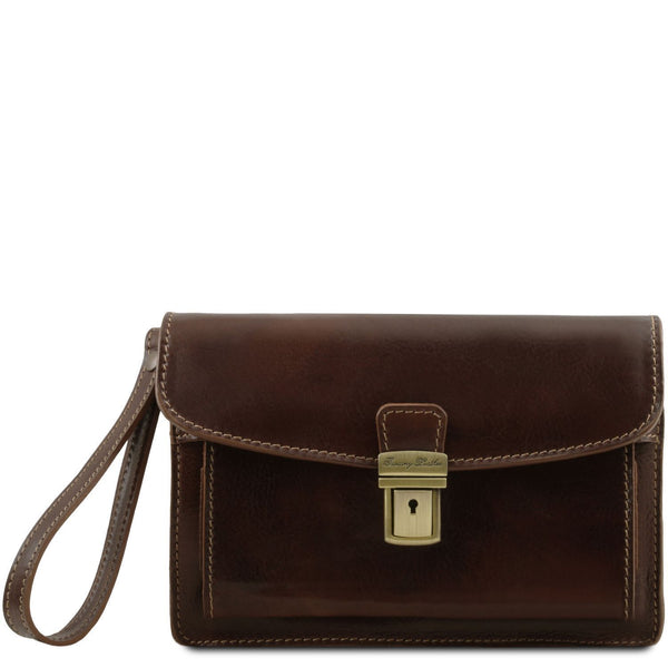 Tuscany Leather 'Max' Leather Handy Wrist Bag (TL8075) Handbag Tuscany Leather Dark Brown