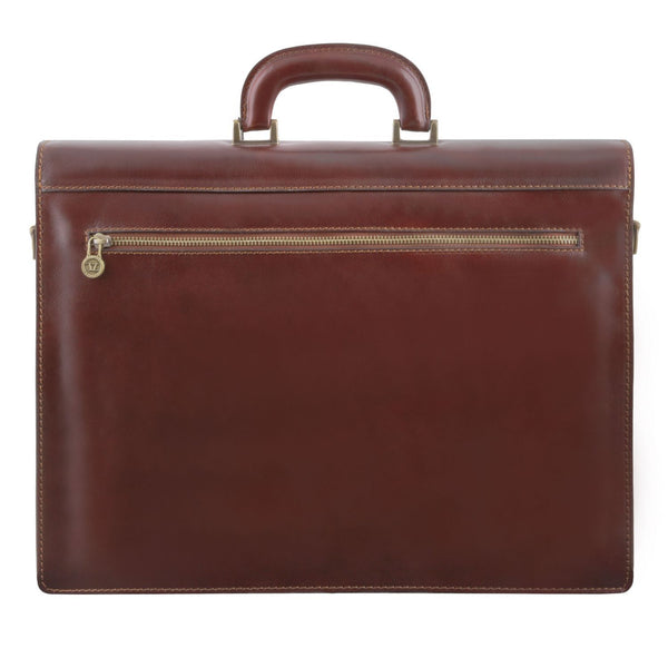 Tuscany Leather 'Napoli' 2 Compartments Leather Briefcase With Front Pocket Briefcase Tuscany Leather