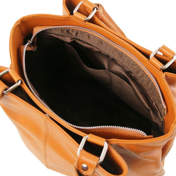 Tuscany Leather TL Bag Leather shoulder bag with front pockets