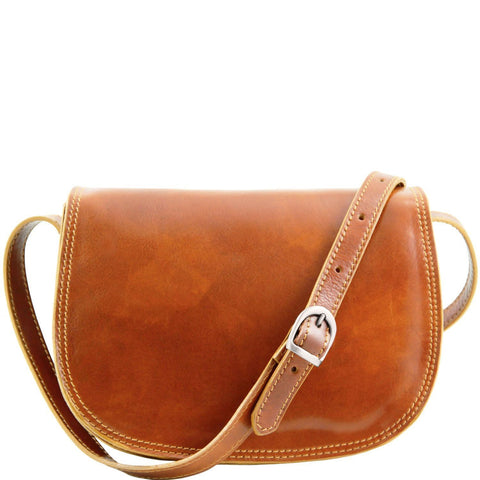 Tuscany Leather 'Isabella' Lady Leather Clutch Bag With Shoulder Strap Ladies Shoulder Bag Tuscany Leather Honey
