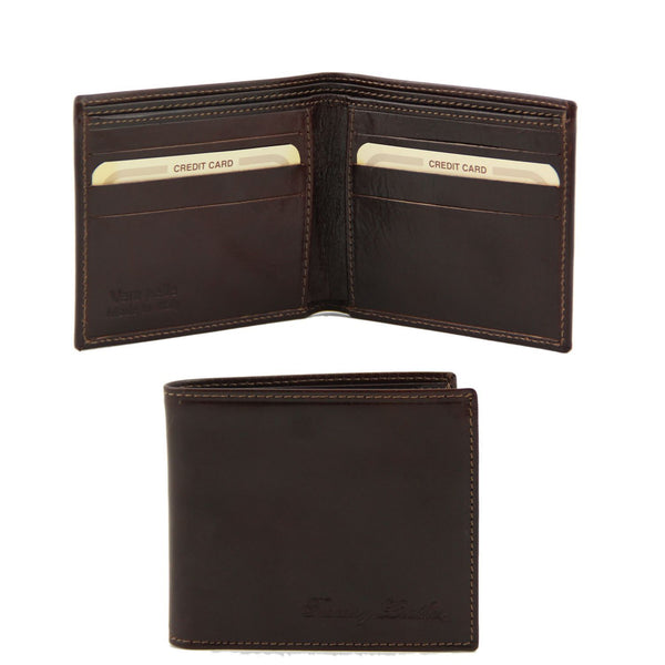 Tuscany Leather Exclusive Classic 2 Fold Leather Wallet For Men (TL141377) Wallets Tuscany Leather Dark Brown