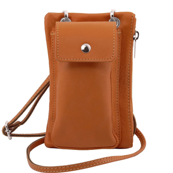 Tuscany Leather 'Attraversare' Leather Mobile Phone Holder Mini Cross Bag Mobile Phone Holder Tuscany Leather Cognac