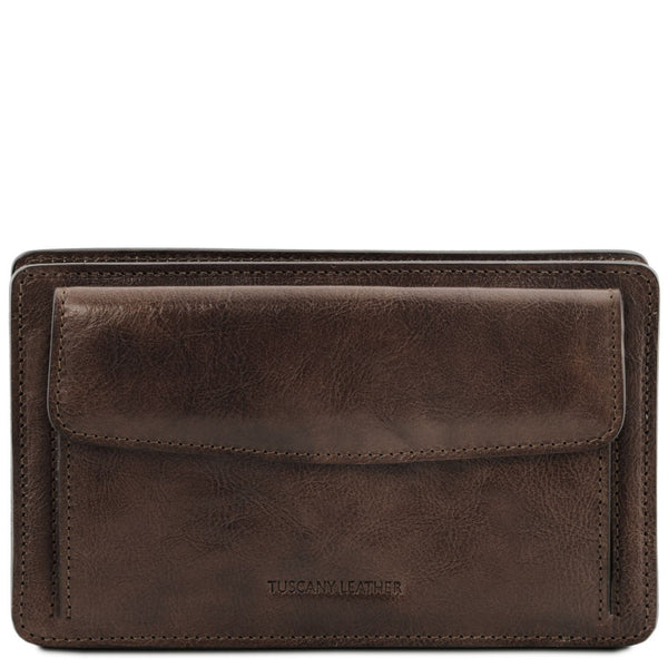 Tuscany Leather 'Denis' Exclusive Leather Handy Wrist Bag For Man (TL141445) Handbag Tuscany Leather Dark Brown