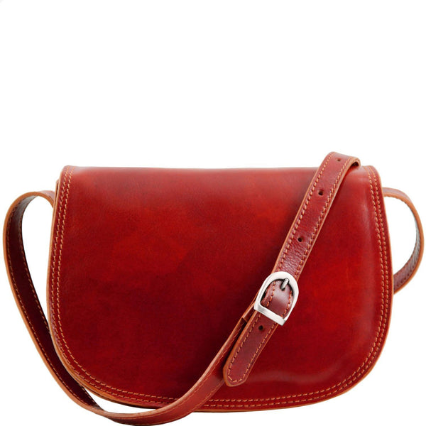 Tuscany Leather 'Isabella' Lady Leather Clutch Bag With Shoulder Strap Ladies Shoulder Bag Tuscany Leather Red