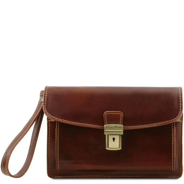 Tuscany Leather 'Max' Leather Handy Wrist Bag (TL8075) Handbag Tuscany Leather Brown