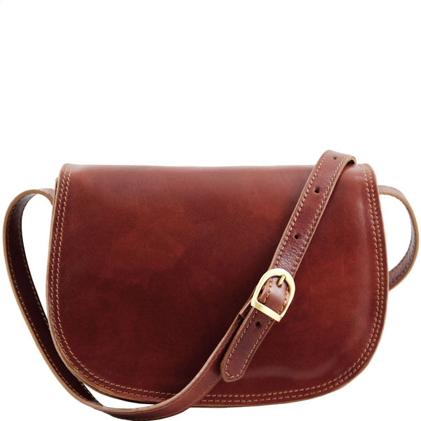 Tuscany Leather 'Isabella' Lady Leather Clutch Bag With Shoulder Strap Ladies Shoulder Bag Tuscany Leather Brown