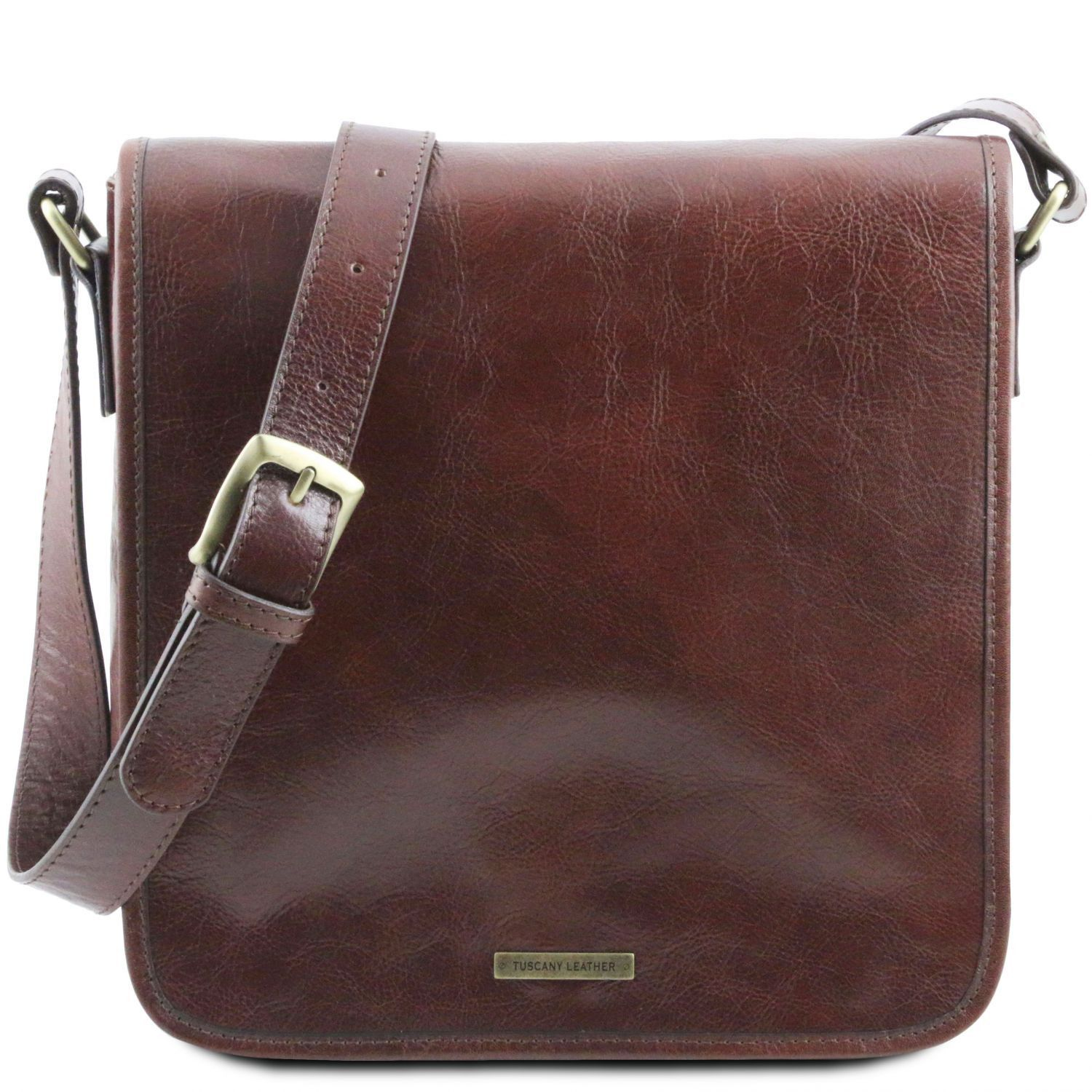 Tuscany Leather 'TL Messenger' One Compartment Leather Shoulder Bag Messenger Bag Tuscany Leather Brown