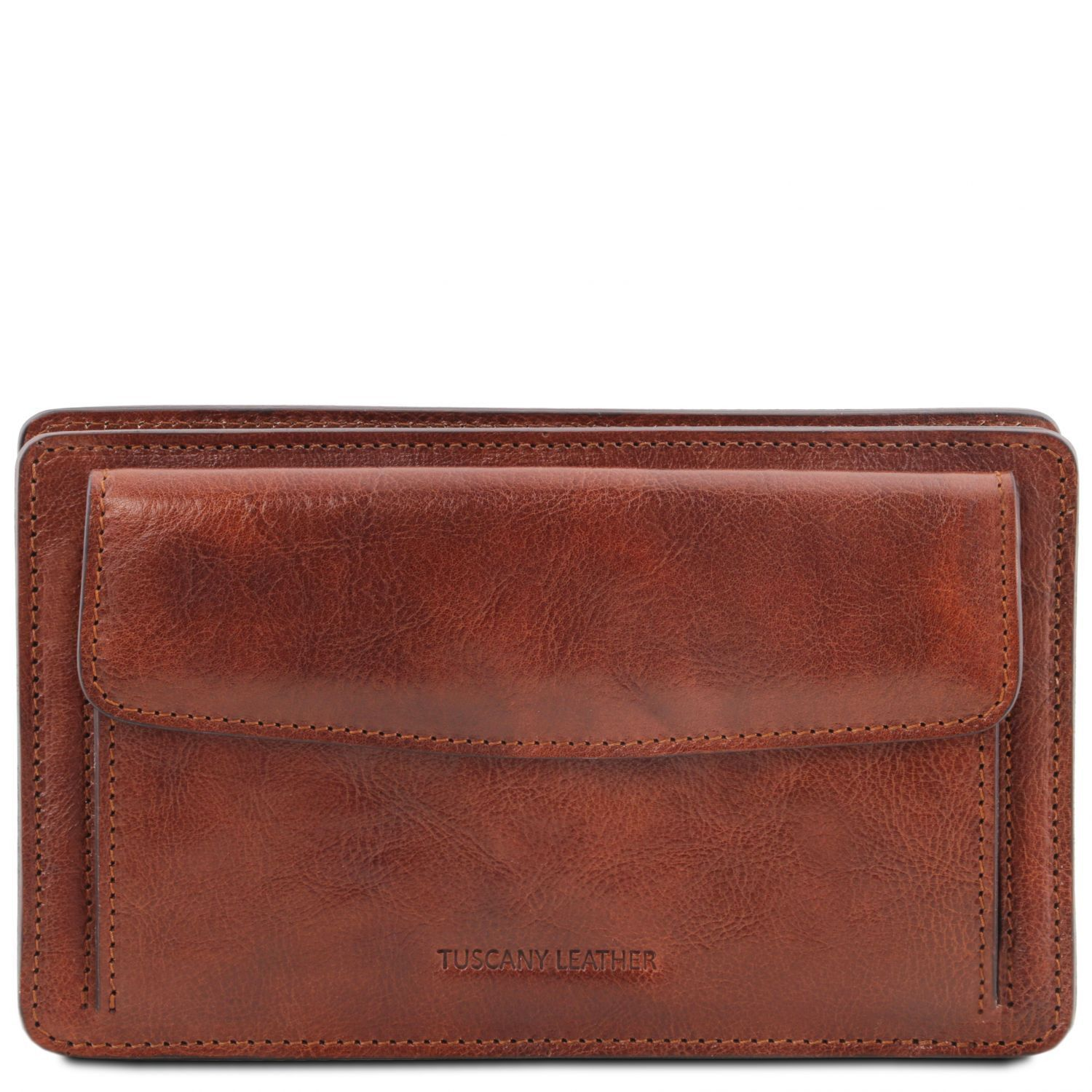 Tuscany Leather 'Denis' Exclusive Leather Handy Wrist Bag For Man (TL141445) Handbag Tuscany Leather Brown
