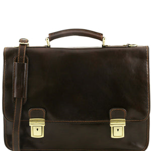 Tuscany Leather 'Firenze' Leather Briefcase 2 Compartments Briefcase Tuscany Leather Dark Brown