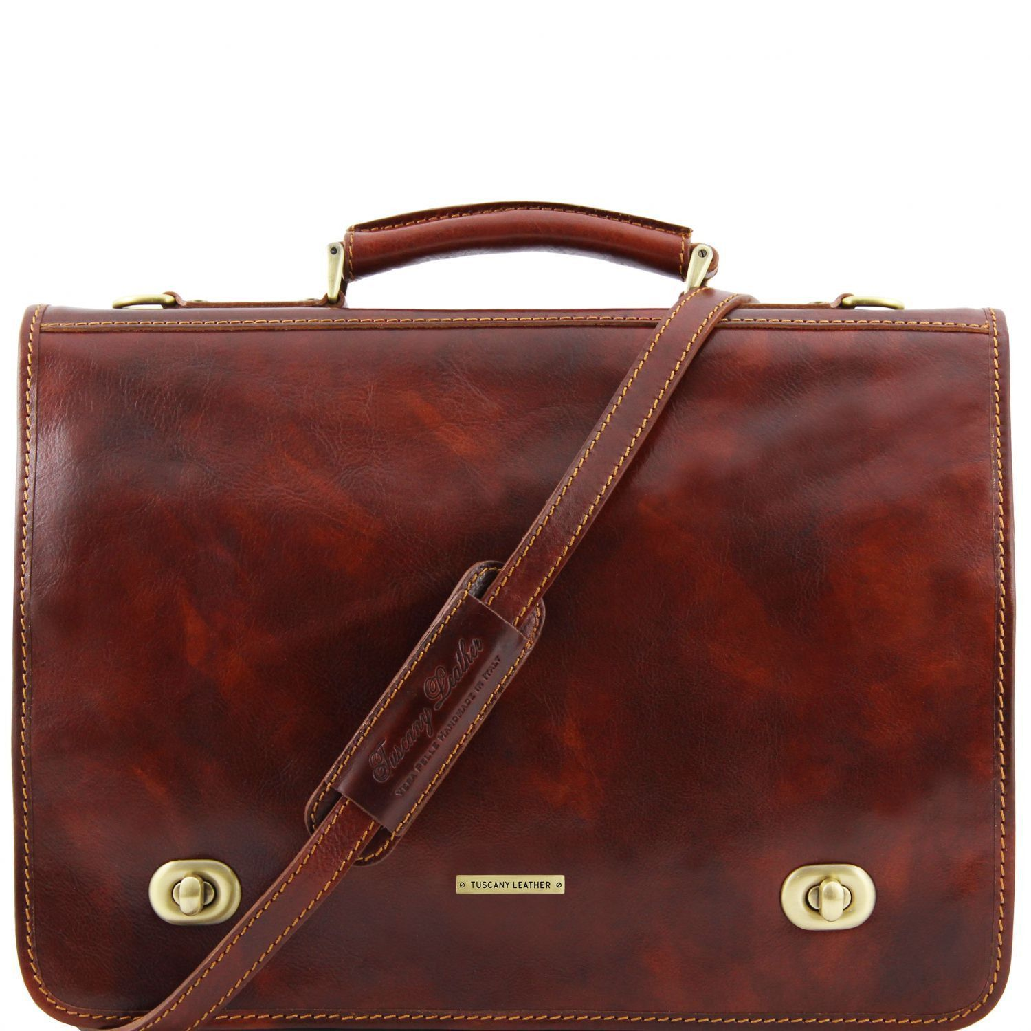 Tuscany Leather 'Siena' Leather Briefcase 2 Compartments Briefcase Tuscany Leather Brown