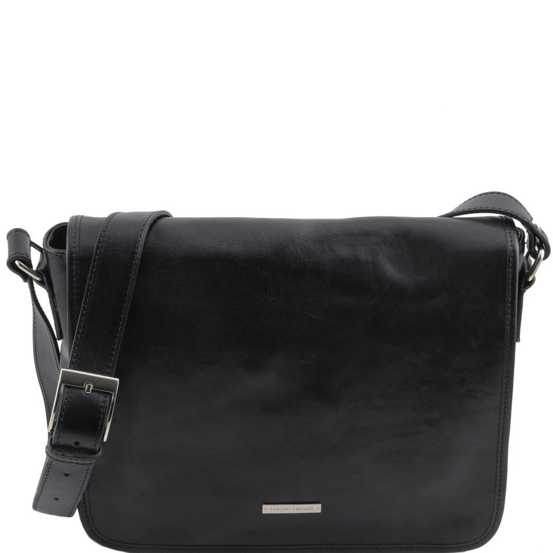 Tuscany Leather 'TL Messenger' One Compartment Leather Shoulder Bag - Medium Size Messenger Bag Tuscany Leather Black
