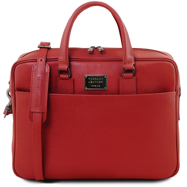 Tuscany Leather 'Urbino' Saffiano Leather Laptop Carry Briefcase Laptop Briefcase Tuscany Leather Red