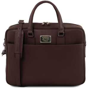 Tuscany Leather Urbino Saffiano Leather Laptop Carry Briefcase - Made in Tuscany
