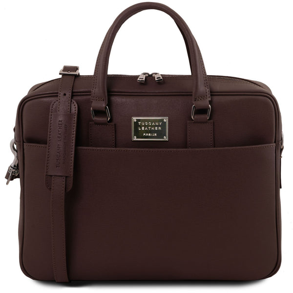 Tuscany Leather 'Urbino' Saffiano Leather Laptop Carry Briefcase Laptop Briefcase Tuscany Leather Dark Brown