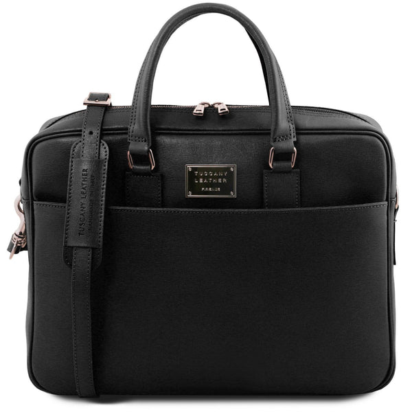 Tuscany Leather 'Urbino' Saffiano Leather Laptop Carry Briefcase Laptop Briefcase Tuscany Leather Black