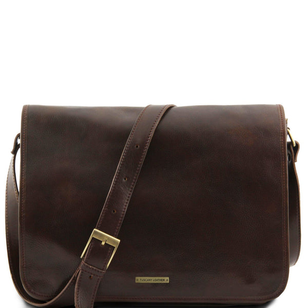Tuscany Leather 'Messenger Double' Freestyle Notebook Leather Bag Messenger Bag Tuscany Leather Dark Brown