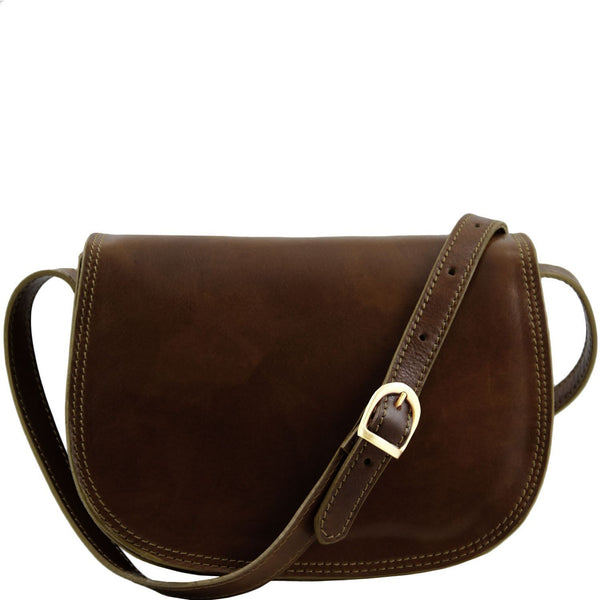 Tuscany Leather 'Isabella' Lady Leather Clutch Bag With Shoulder Strap Ladies Shoulder Bag Tuscany Leather Dark Brown