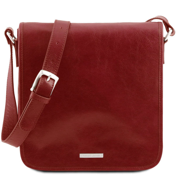 Tuscany Leather 'TL Messenger' One Compartment Leather Shoulder Bag Messenger Bag Tuscany Leather Red