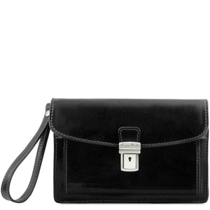 Tuscany Leather 'Max' Leather Handy Wrist Bag (TL8075) Handbag Tuscany Leather Black