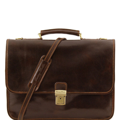 Tuscany Leather 'Torino' Leather Briefcase 2 Compartments Briefcase Tuscany Leather Dark Brown