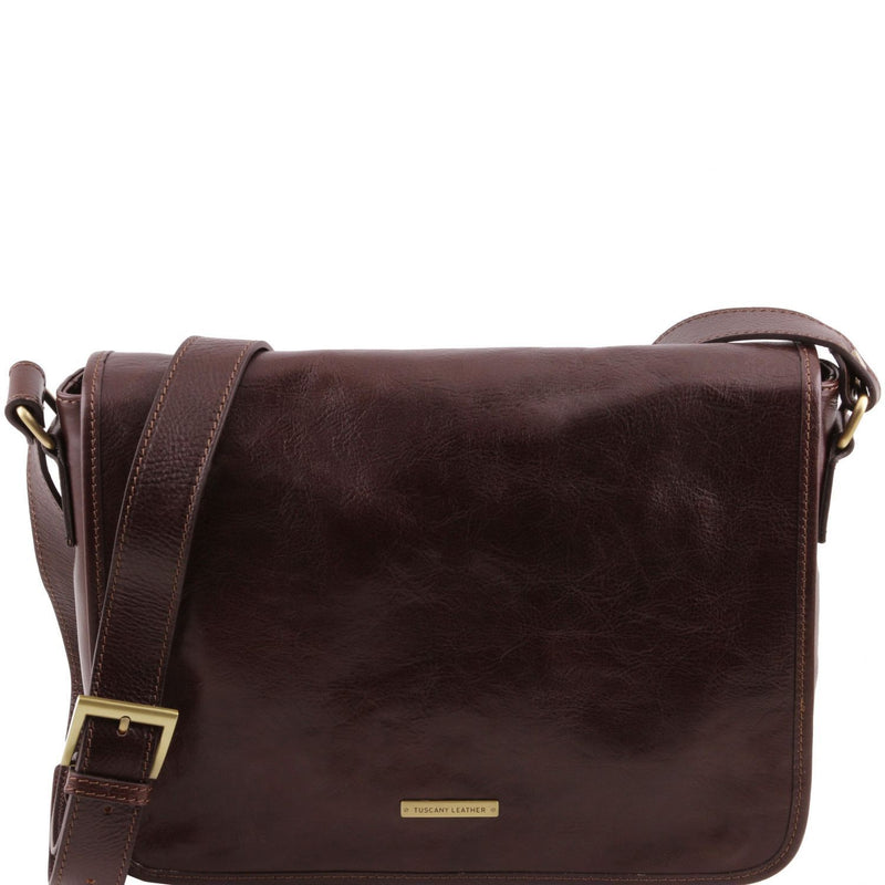 Tuscany Leather 'TL Messenger' One Compartment Leather Shoulder Bag - Medium Size Messenger Bag Tuscany Leather Dark Brown