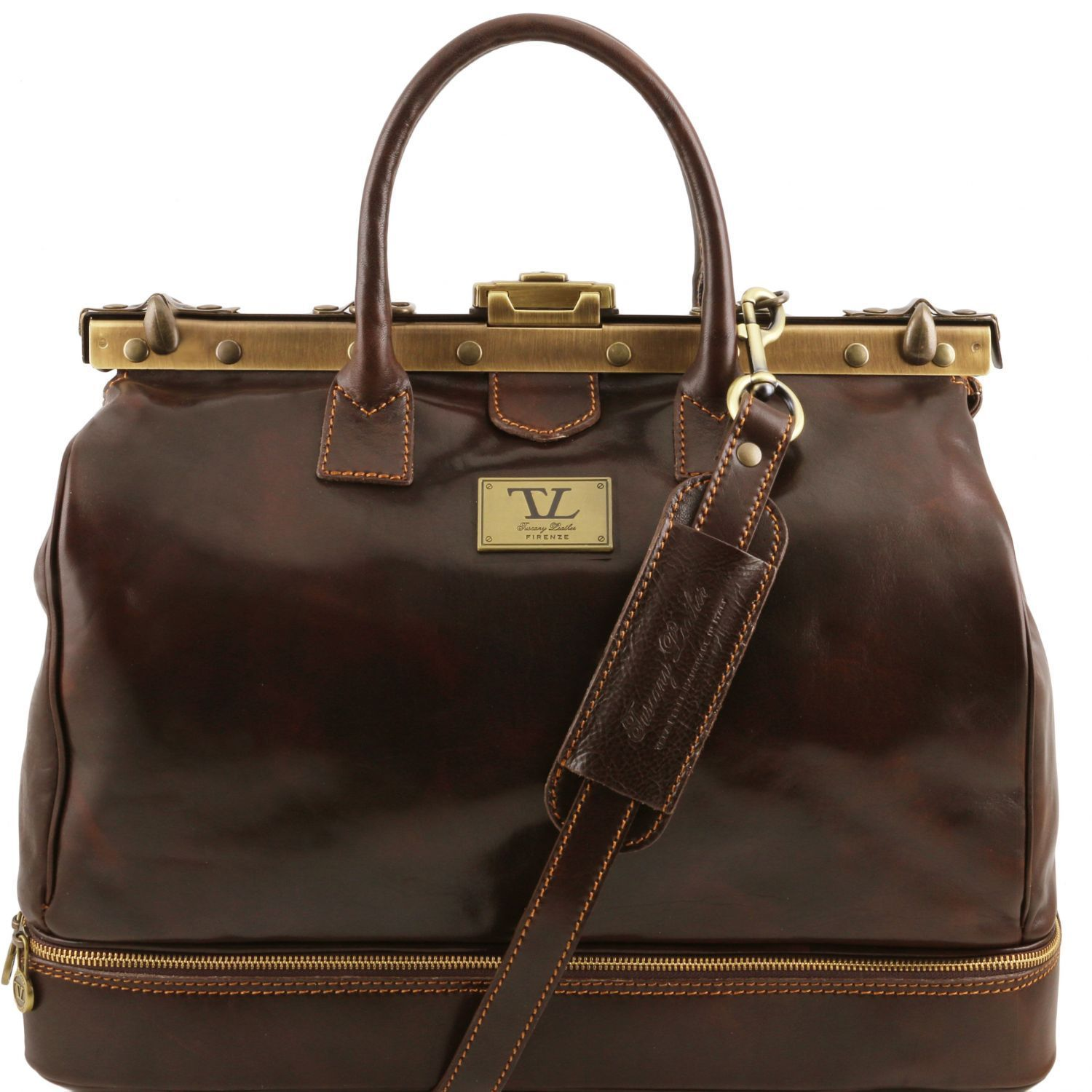 Tuscany Leather Barcelona Double Bottom Gladstone Leather Bag 46.5Cm Gladstone Bag Tuscany Leather Dark Brown