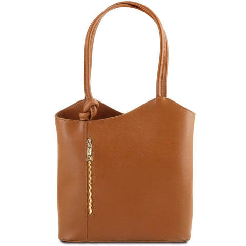 Tuscany Leather Patty Saffiano Leather Convertible Bag/Backpack Ladies Shoulder Bag Tuscany Leather Cognac