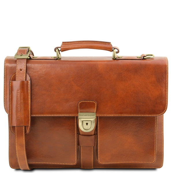 Tuscany Leather 'Assisi' 3 Compartments Leather Briefcase Briefcase Tuscany Leather Honey