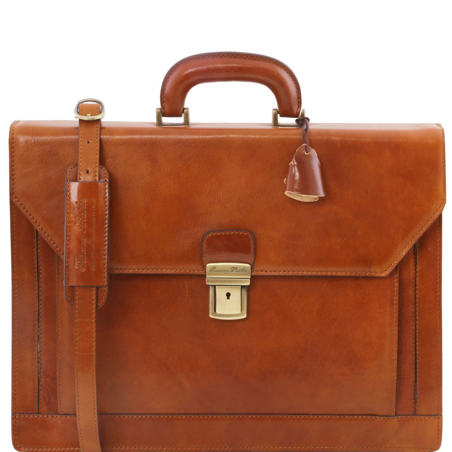 Tuscany Leather 'Napoli' 2 Compartments Leather Briefcase With Front Pocket Briefcase Tuscany Leather Honey