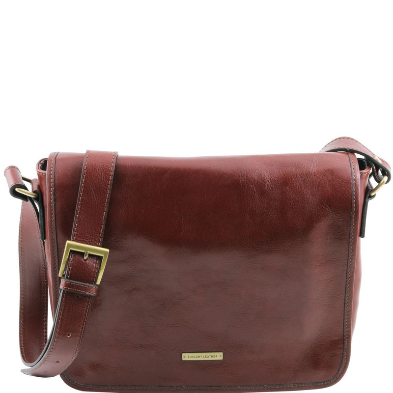 Tuscany Leather 'TL Messenger' One Compartment Leather Shoulder Bag - Medium Size Messenger Bag Tuscany Leather Brown