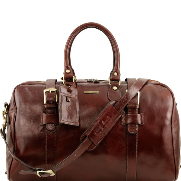 Tuscany Leather Travel Bag With Front Straps 'TL Voyager' - Large Size Duffle Bag Tuscany Leather Brown