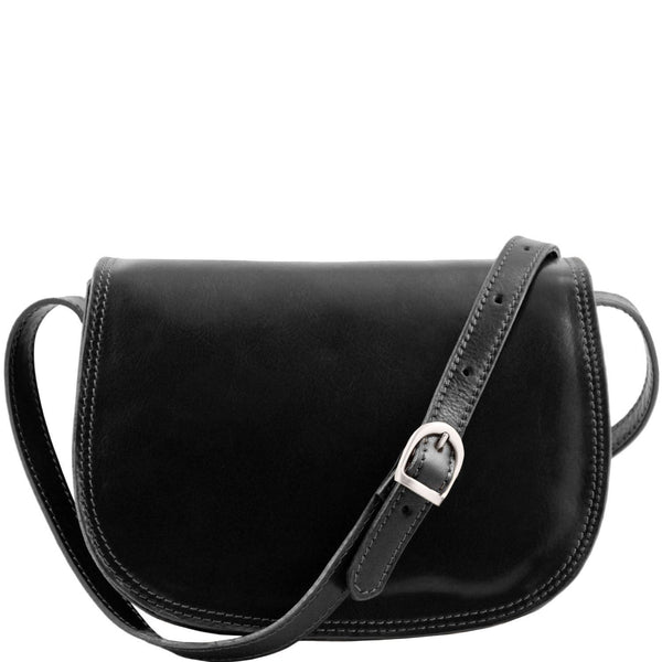 Tuscany Leather 'Isabella' Lady Leather Clutch Bag With Shoulder Strap Ladies Shoulder Bag Tuscany Leather Black