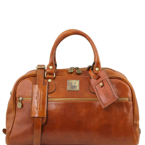 Tuscany Leather Travel Leather Bag 'TL Voyager' Small Size Duffle Bag Tuscany Leather Honey