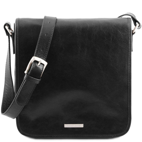 Tuscany Leather 'TL Messenger' One Compartment Leather Shoulder Bag Messenger Bag Tuscany Leather Black