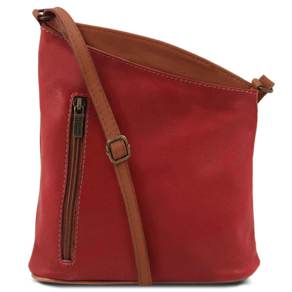 Tuscany Leather 'TL Bag' Mini Soft Leather Unisex Cross Bag (TL141111) Ladies Shoulder Bag Tuscany Leather Red