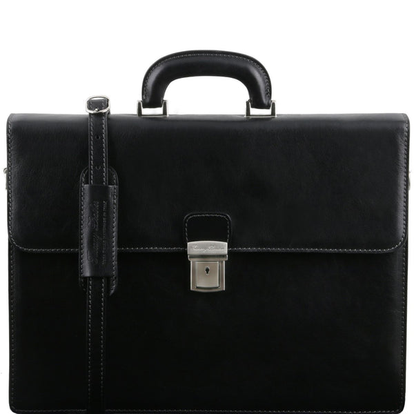 Tuscany Leather 'Parma' Leather Briefcase 2 Compartments Briefcase Tuscany Leather Black